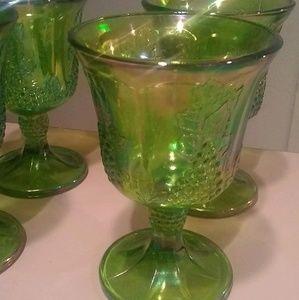 Vintage Indiana Glass Green Iridescent